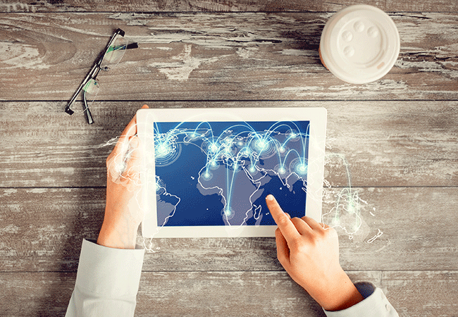 world map network tablet
